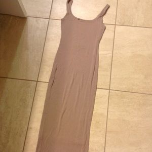 Naked wardrobe midi nude tan beige dress small